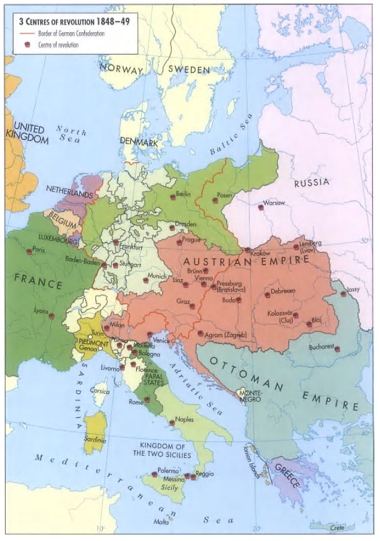 1848-1849) Centers of Revolution in Europe | European map ...