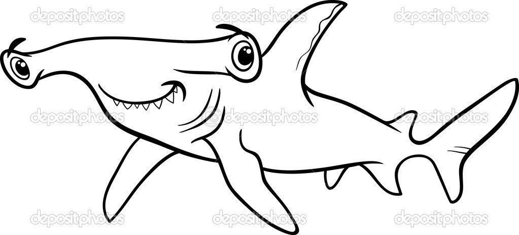 Libro de colorear de tiburón martillo — Vector de stock ...