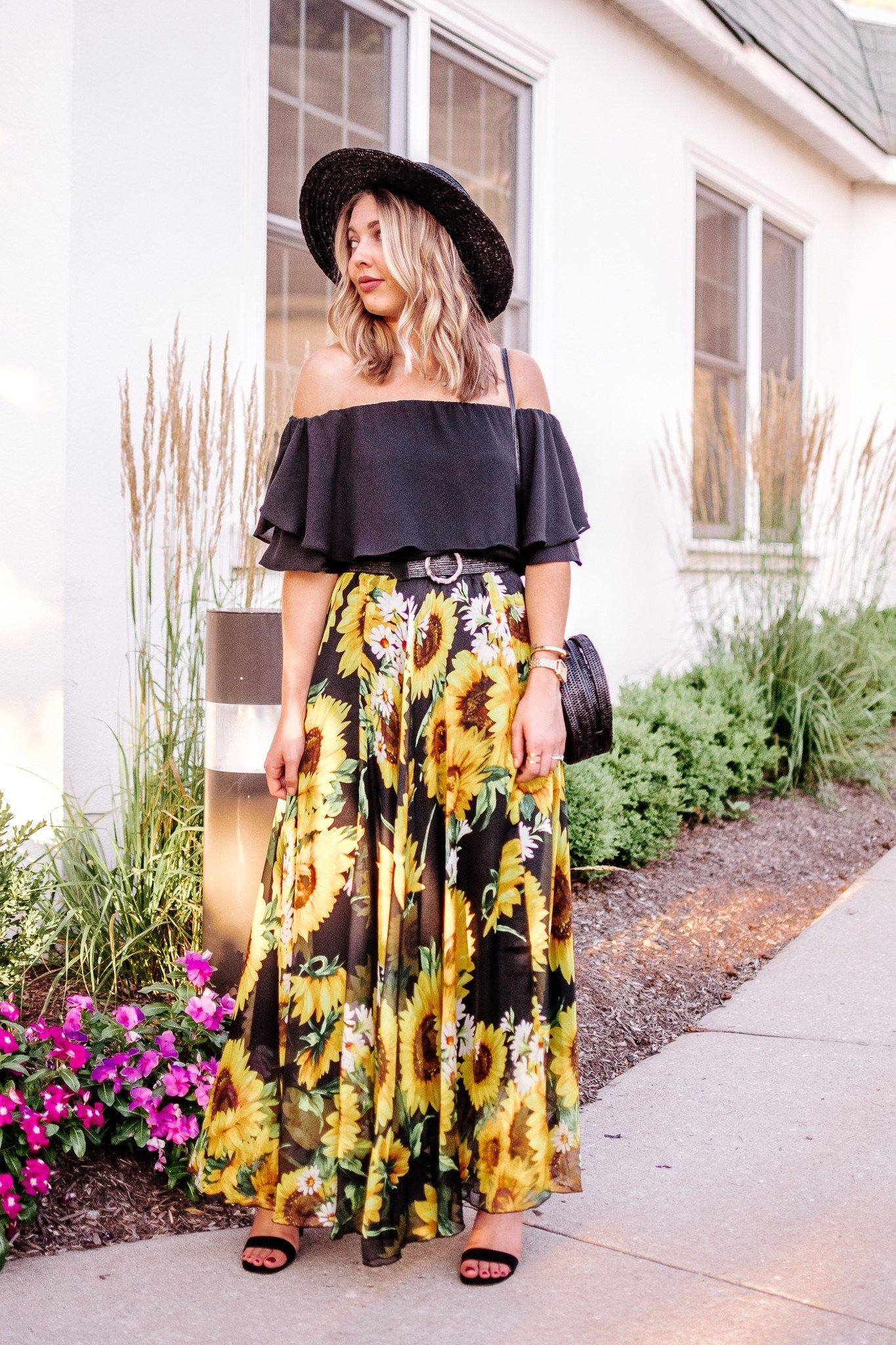 How To Dress Up A Sunflower Skirt With A Black Off The Shoulder Top And Simple Black Heels Black Ruffle Top Sunflower Max Night Outfits Skirts Chiffon Tops [ 2048 x 1365 Pixel ]