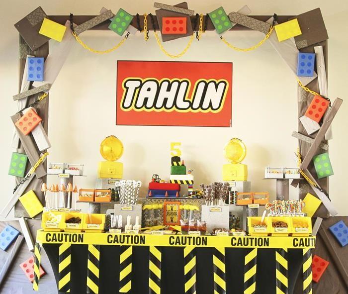 Lego Construction Party Planning Ideas Supplies Idea Decorations Boy ...
