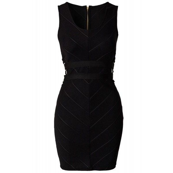 Sexy Party Chevron Texture Bodycon Bandage Dress (165 BRL) ❤ liked on Polyvore featuring dresses, party dresses, sexy cocktail dresses, sexy black cocktail dresses, black dress and black body con dress