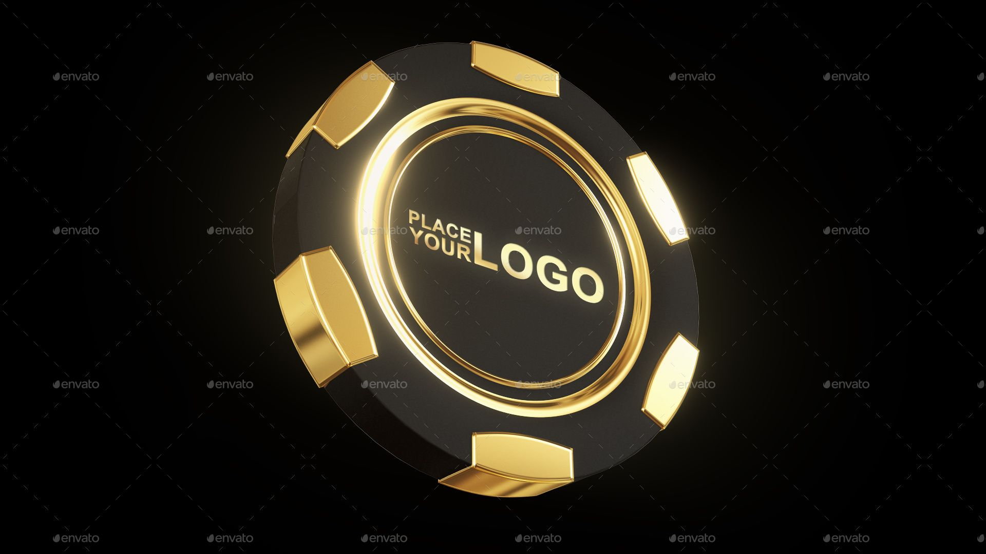 Casino Gold Chip Mockup Blank Business Cards Mockup Gold