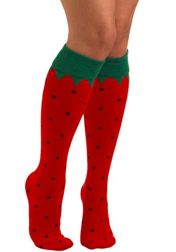 strawberry socks!!!  I love socks,,, I especially LOVE knee socks!!!!!  If anybody ever questions what to get me for gifts....socks of any and every kind!!!  I'm a dork like that!!