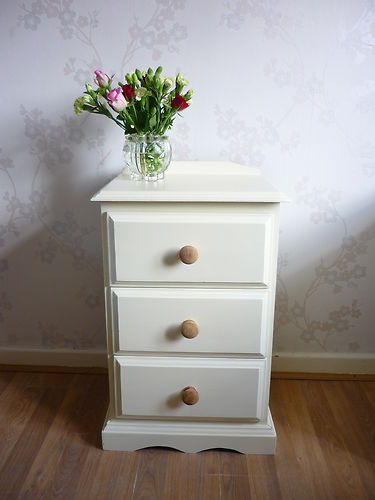 Cream Bedside Tables: Pine Bedside Cabinets/Table/Drawers In Farrow & Ball Cream