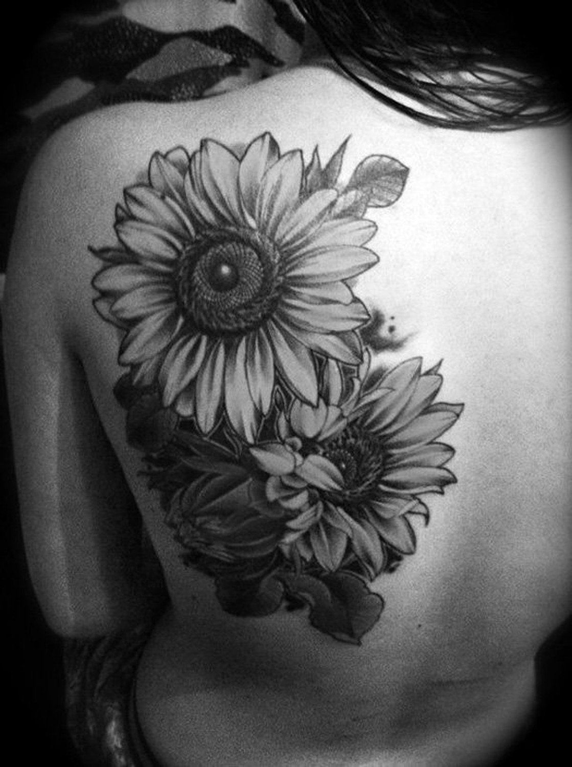 Large Black And White Sunflower Floral Flower Tattoo Ideas For Women