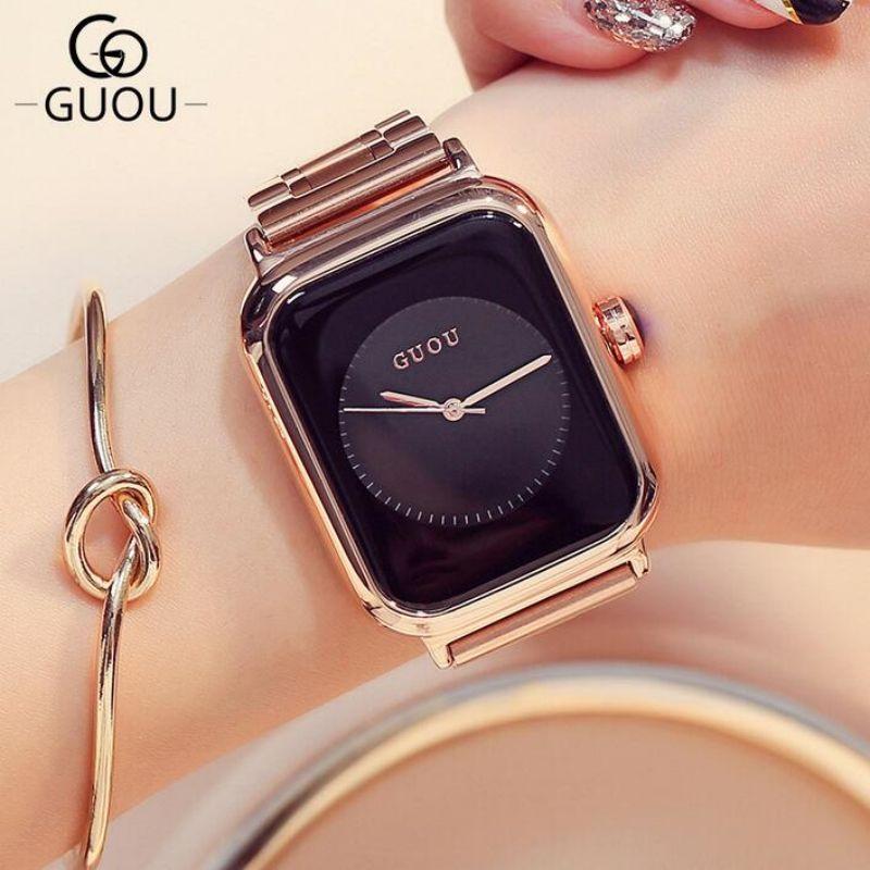 Luxury Quality Watch Rose Gold Women Watches Rectangle Full Steel Bracelet  Clock montre femme relogio femmes montres 63d669ebd2