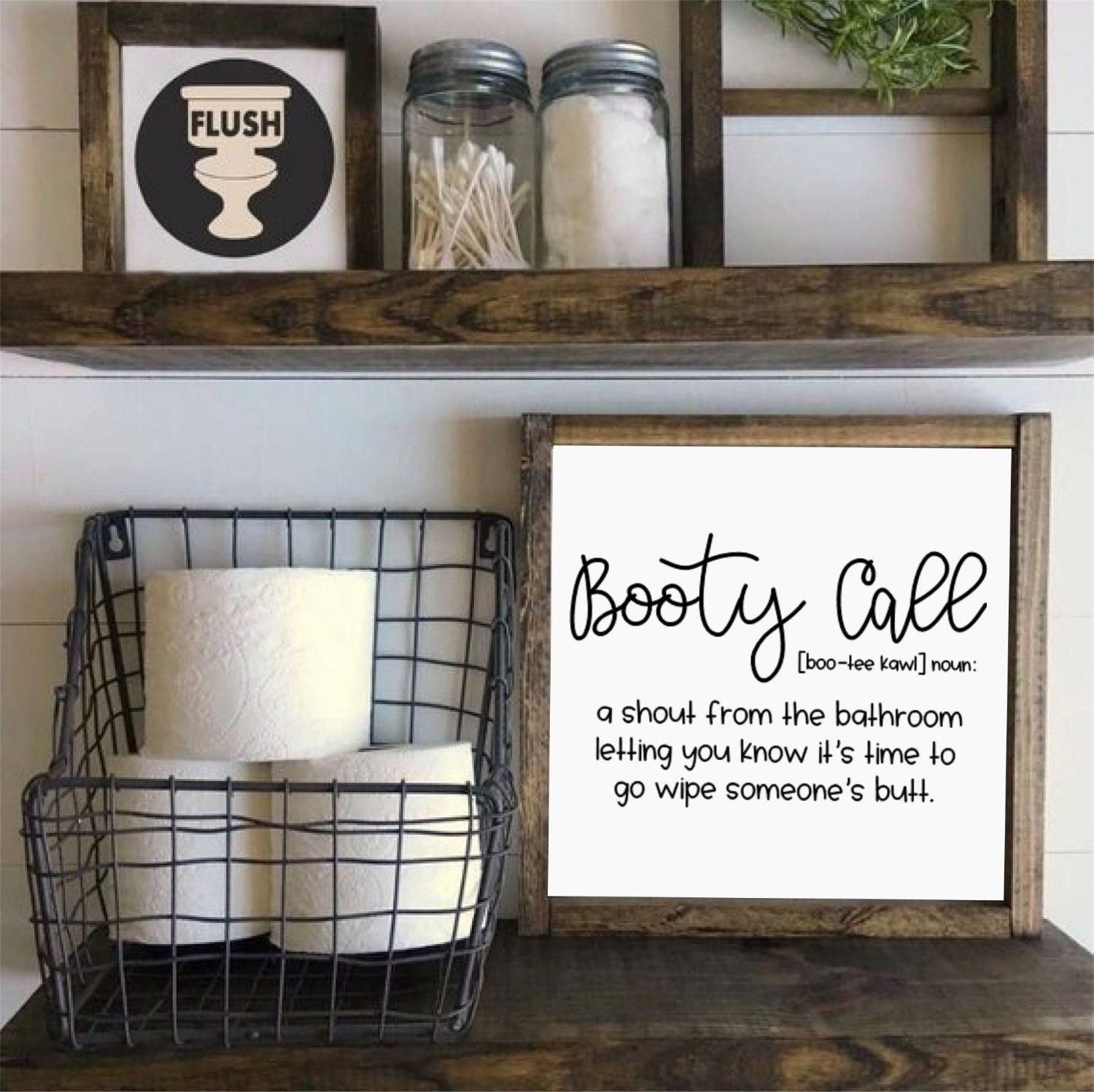 Booty Call Funny Bathroom SignRustic Decor Adult | Etsy