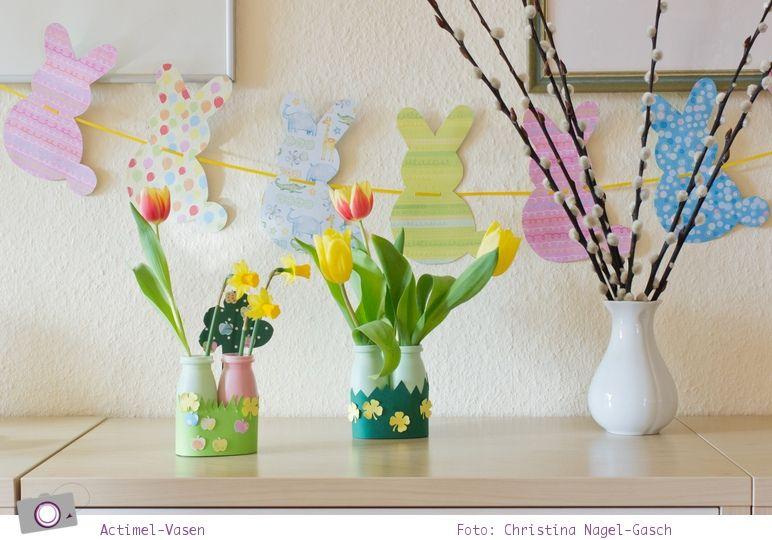 Basteln Mit Kindern Kleine Actimel Vasen Für Frühlingsblumen