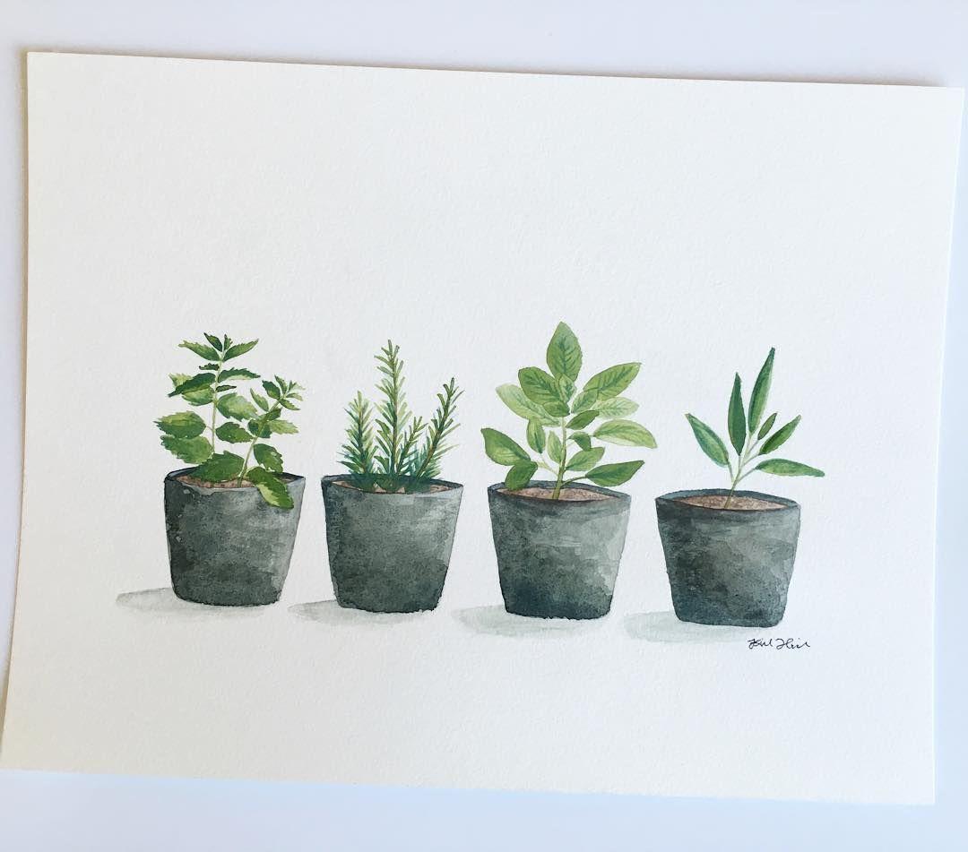 Herb garden herbs watercolor art print kitchen mint rosemary