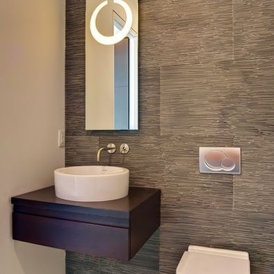 Powder Room L Porcelanosa Tile L Floating Vanity L Above