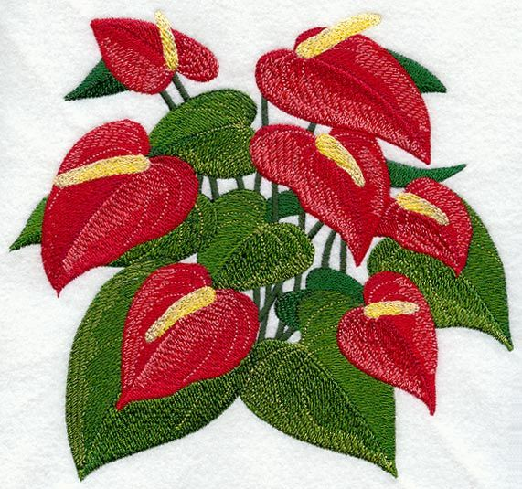 Anthurium Tropical Flower Machine Embroidery Designs Embroidery Flowers Embroidery Designs