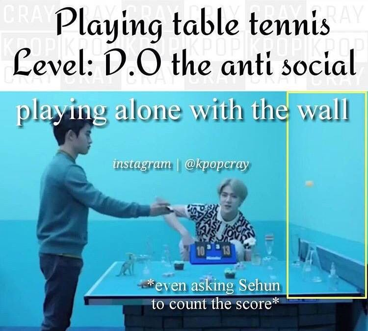 Anti social level: Do Kyungsoo Also the wall is winning xD
