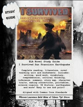 I Survived San Francisco Earthquake 1906, ELA Book Study Guide US ...