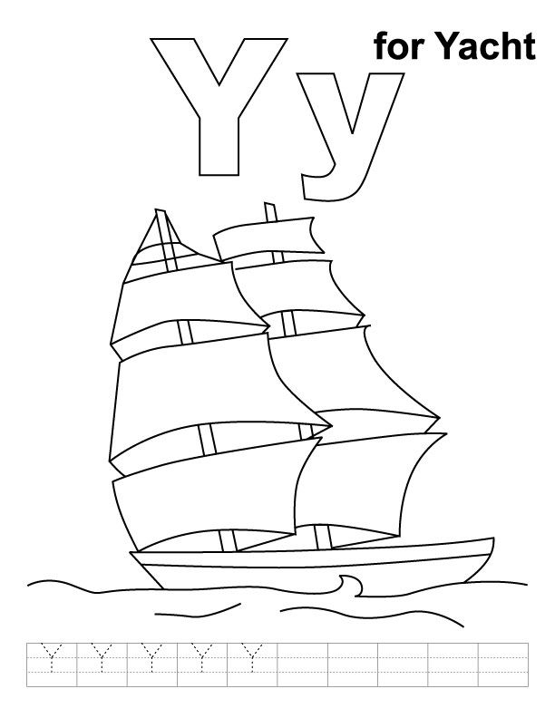 Y For Yacht Coloring Page With Handwriting Practice Alphabet