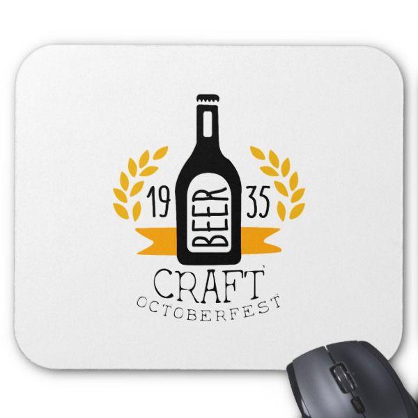Craft Beer Oktoberfest Logo Design Template Mouse Pad Custom - office supply template