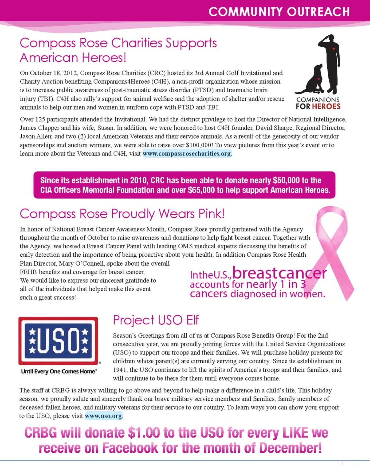 Crbg outreach events throughout the years uso