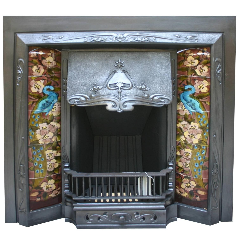 antique edwardian art nouveau cast iron fire insert see more