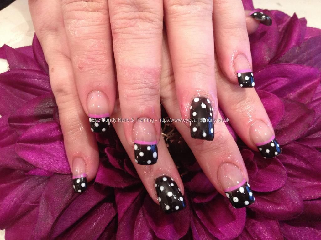 eye candy Nails & Training - Nails Gallery: Black polish with white ...