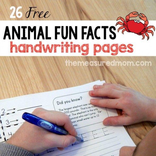 Animal Fun Facts Free Handwriting Worksheets Pinterest Free