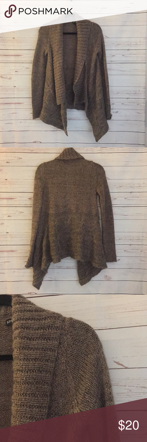 Express Open Front Sweater Cardigan Shimmer Sz S Beautiful