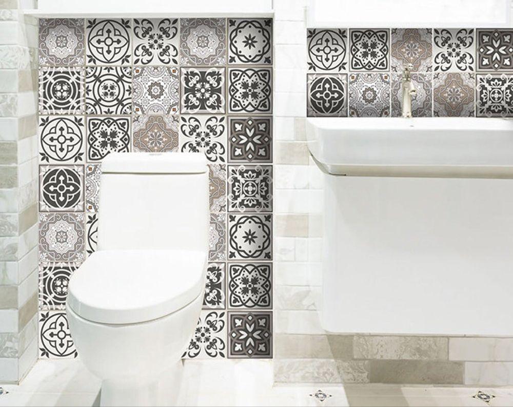 Peel And Stick Backsplas Stickers 24 Tiles Decals Tiles Etsy In 2020 Tile Decals Vinyl Tiles Bathroom Backsplash