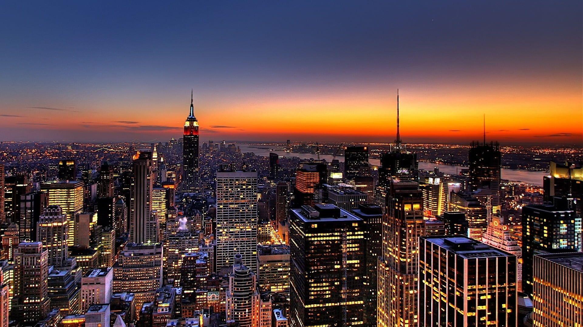 New York Night Skyscrapers Top View New York Wallpaper New York