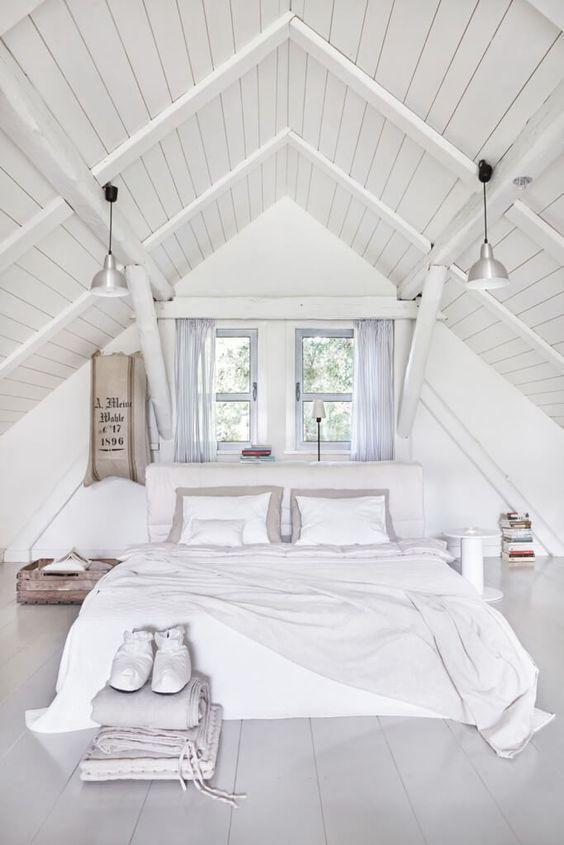 White Attic Trending Interior Modern Style Ideas Attic Bedroom Designs Attic Bedrooms Bedroom Loft