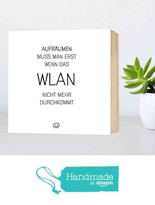 chaos wlan lustiges holzbild 15x15x2cm echter fotodruck mit spruch auf holz schwarz wei w. Black Bedroom Furniture Sets. Home Design Ideas