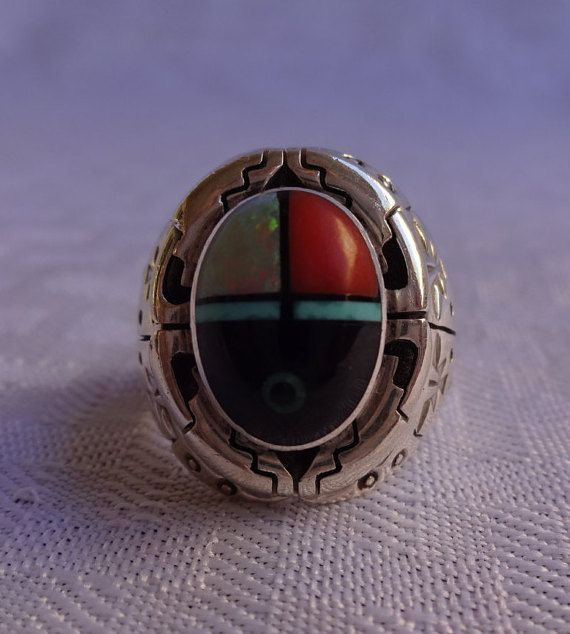 Signed Vintage NAVAJO Sterling Silver CORAL Jet Opal Turquoise INLAY Ring, size 9 1/4,    #TurquoiseKachina