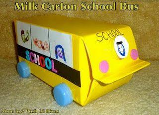 Recycled Milk Carton School Bus