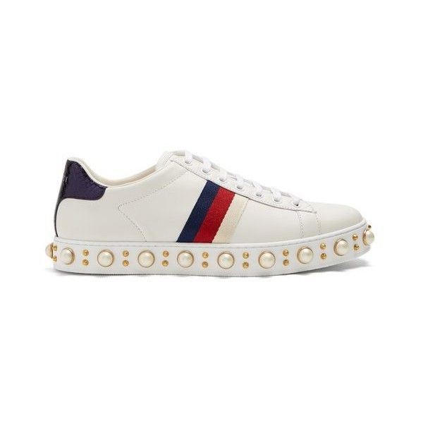 f128cf31f7d4 Gucci New Ace faux-pearl embellished leather trainers ( 1