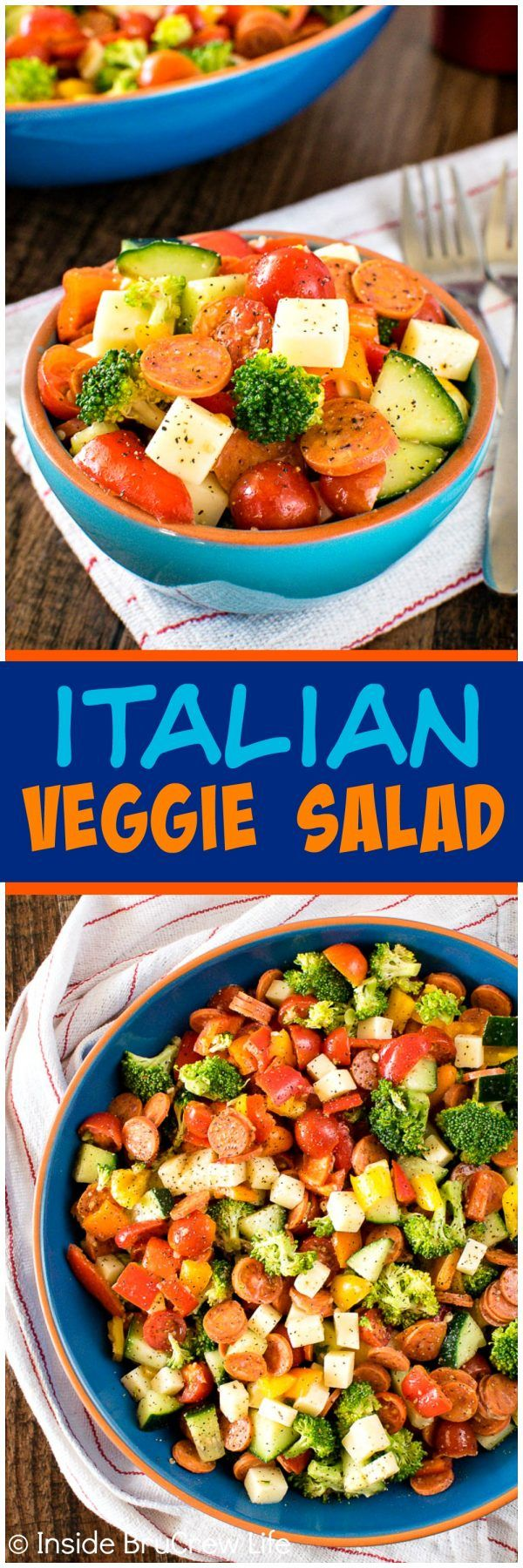 Italian Veggie Salad - all your favorite veggies plus cheese & pepperoni makes this easy salad the perfect healthy dinner recipe!