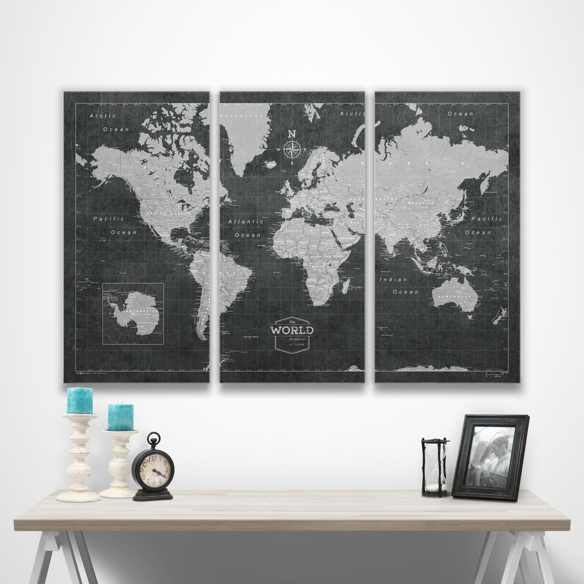 World travel map pin board wpush pins modern slate travel maps world travel map pin board wpush pins modern slate gumiabroncs Choice Image