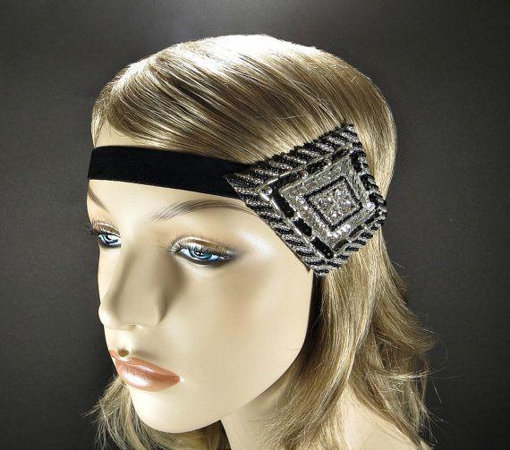 Roaring 20s Great Gatsby Headpiece Gold Beaded Headband 1920s Hair Accessory Vintage Inspired Fler