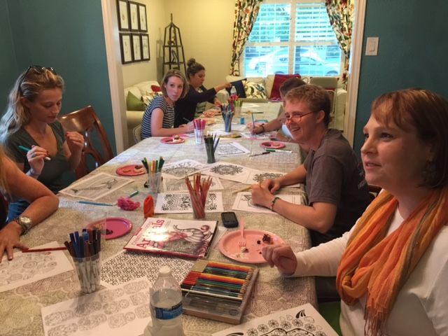 """Host an Adult Coloring Party with a few friends and family. It was such a blast and a nice change of pace from """"high energy"""" activities like happy…"""
