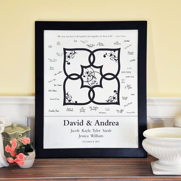 Bring Your Families Together With Our Blended Family Wedding Guest Book Signature Canvas In Frame And