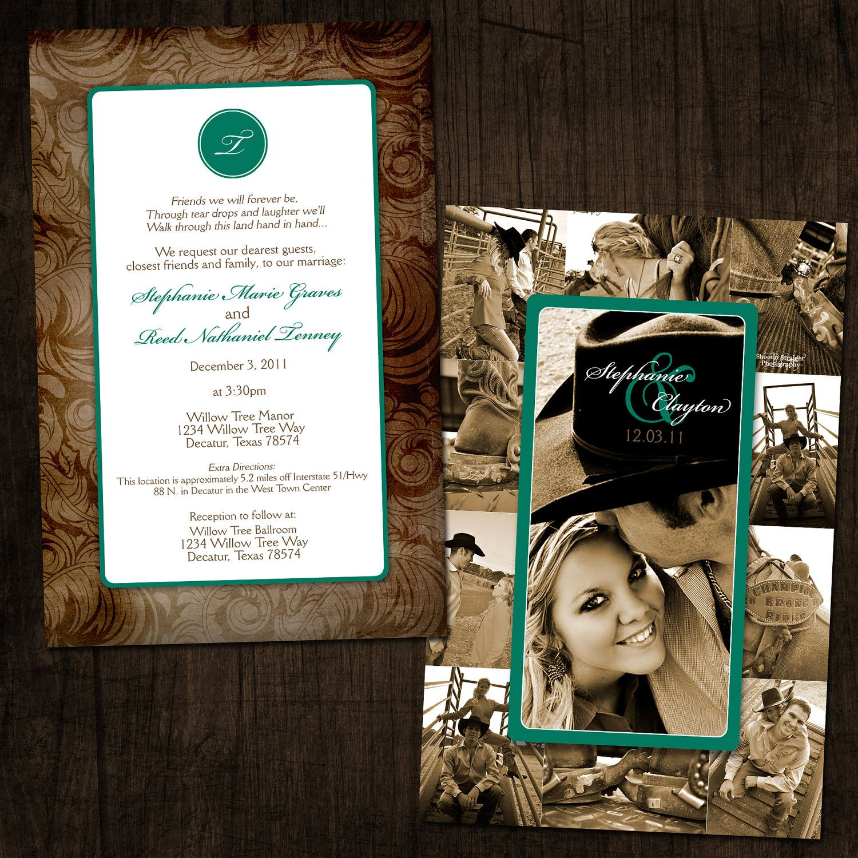 Western Chic Collage Wedding Invitation By Designink On Etsy