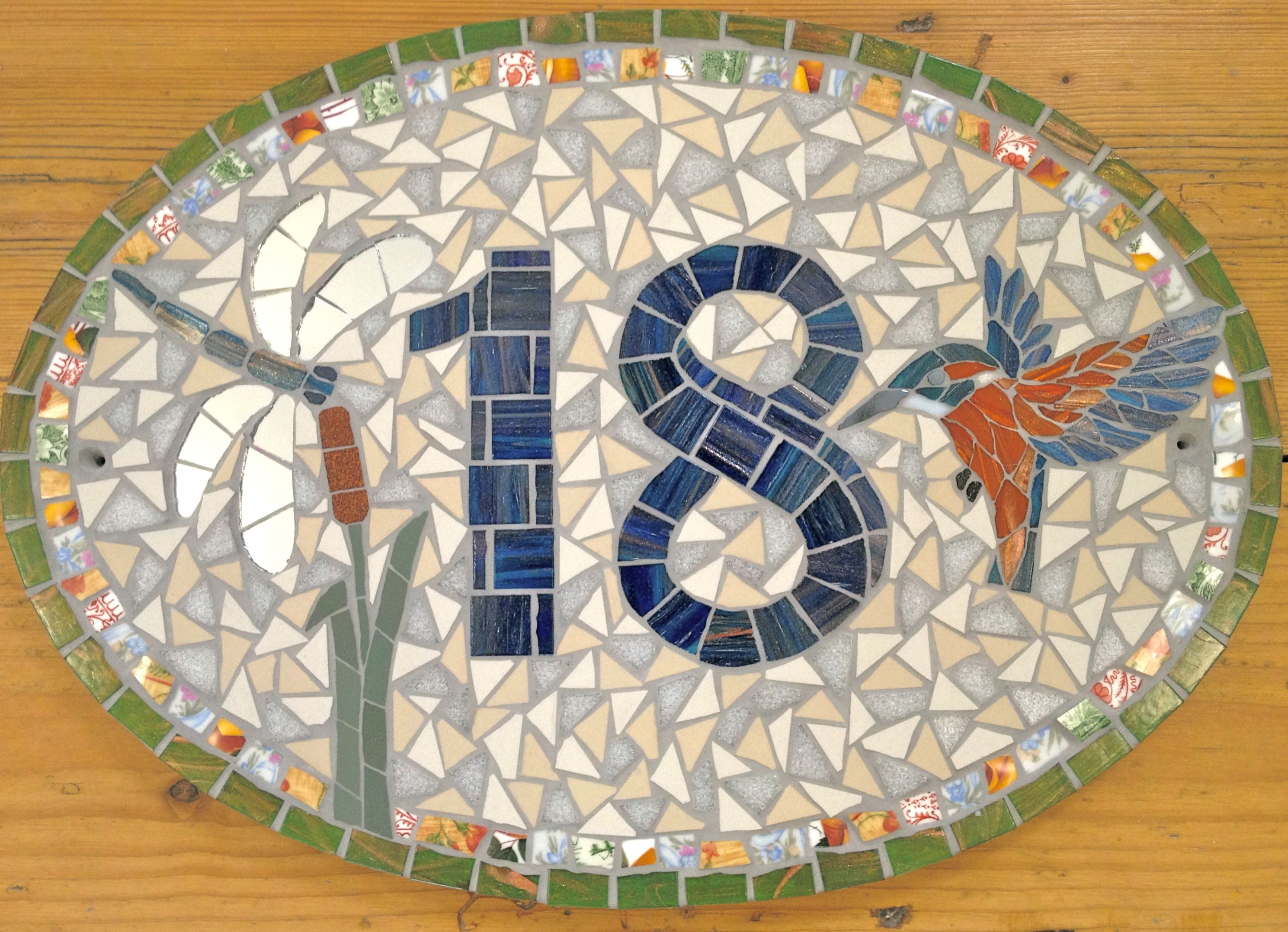 House number by TomatoJack Arts Vintage crockery ceramic and glass