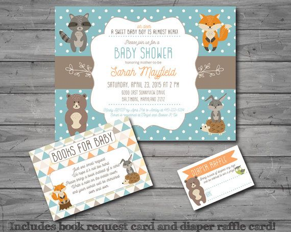Woodland Baby Shower Invitation, woodland theme, woodland animal, boy baby shower, printable, DIY printing, book request card, diaper raffle