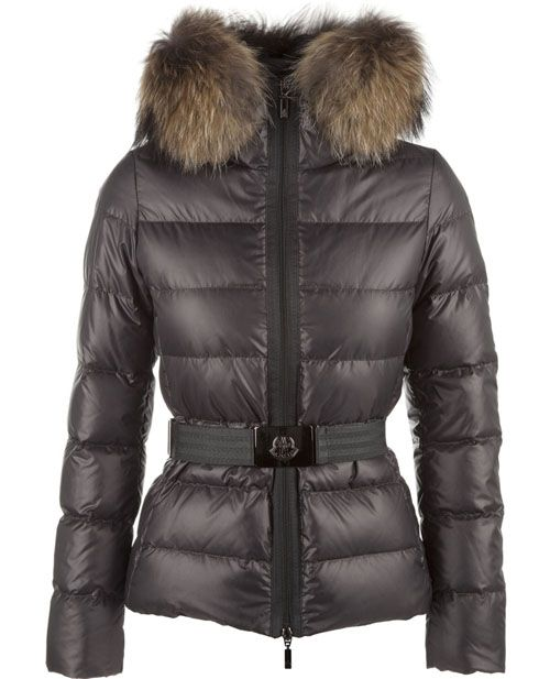 Top Quality Moncler Angers Womens Jackets Decorative Belt Hooded Dark Gray  With Free Shipping
