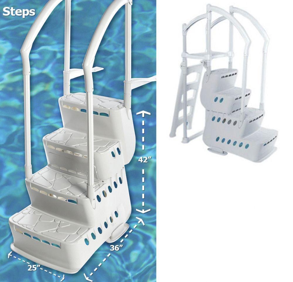 Biltmor pool step w 2 pvc handrails deck attachment