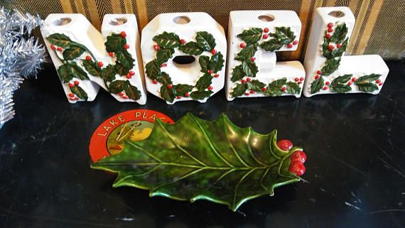 Noel Candle Holders FREE SHIPPING Christmas Decor Vintage