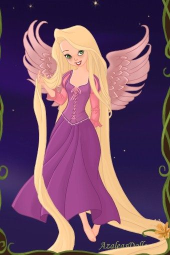 Tink as Rapunzel from Tangled by LadyAquanine73551.deviantart.com