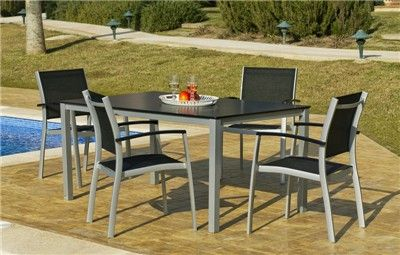 conjunto mesa y sillas exterior cristal