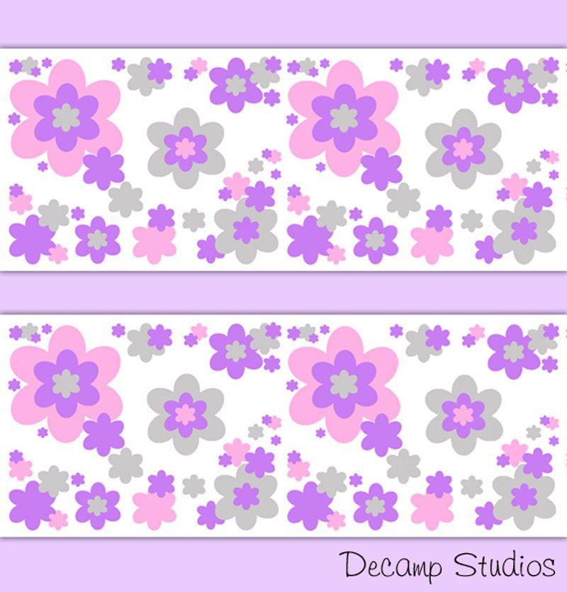 Floral Wallpaper Border Wall Art Decal Pink Purple Gray Girls Room Nursery Decor Decampst Floral Wallpaper Border Pink Flowers Wallpaper Grey Floral Wallpaper