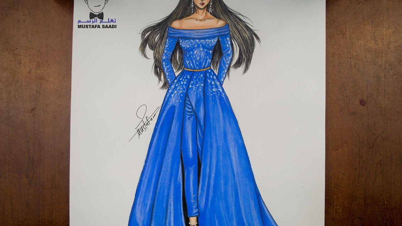 تعليم رسم فستان مميز باللون الازرق How To Draw Fashion Youtube Fashion Fashion Sketches Dresses