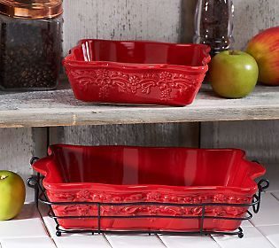 Temp Tations Country Lace 7 Piece Bakeware Set W Wire Racks
