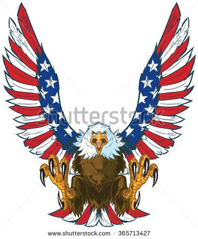 6b81bc289785 Vector cartoon clip art illustration of a mean screaming bald eagle flying  forward with talons out and spread American flag wings - buy this stock  vector on ...