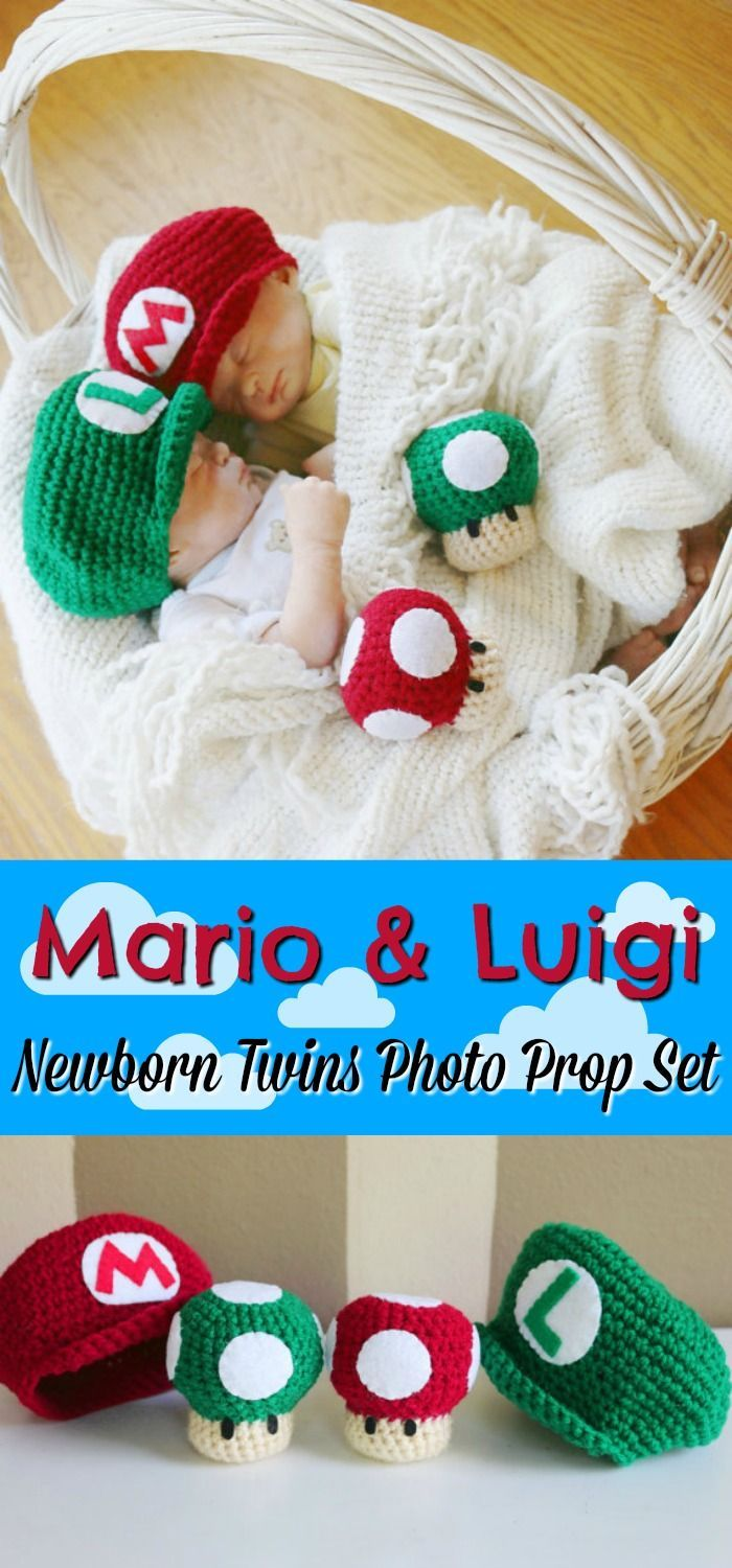 Mario & Luigi Super Mario Brothers Newborn Twins Photo Prop Set. HOW CUTE IS THIS???!!! Why can't I have twins!?! #etsy #ad #nintendo #crochet #hats