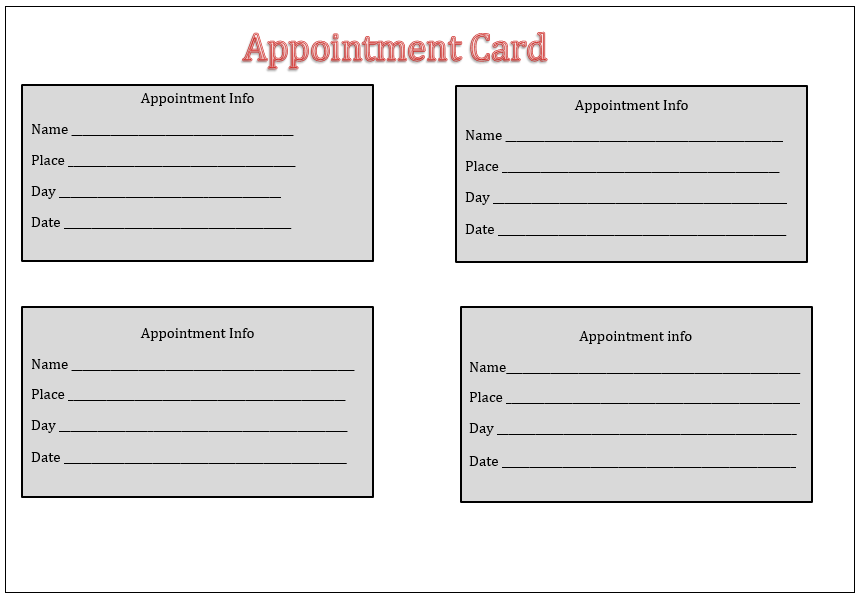 appointment card template templates pinterest templates card